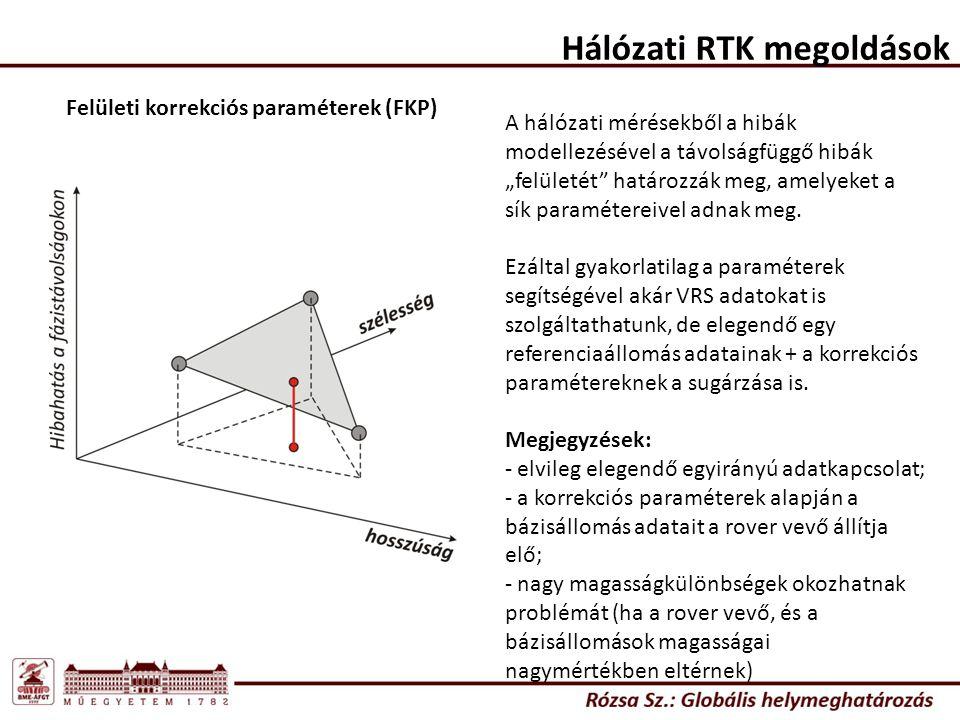 """Hálózati RTK megoldások Felületi korrekciós paraméterek (FKP) A hálózati mérésekből a hibák modellezésével a távolságfüggő hibák """"felületét határozzák meg, amelyeket a sík paramétereivel adnak meg."""