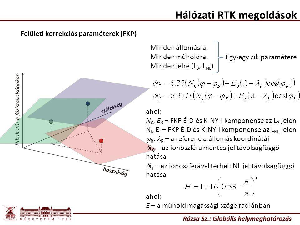 Hálózati RTK megoldások Felületi korrekciós paraméterek (FKP) Minden állomásra, Minden műholdra, Minden jelre (L 3, L NL ) Egy-egy sík paramétere ahol: N 0, E 0 – FKP É-D és K-NY-i komponense az L 3 jelen N I, E I – FKP É-D és K-NY-i komponense az L NL jelen  R, R – a referencia állomás koordinátái  r 0 – az ionoszféra mentes jel távolságfüggő hatása  r I – az ionoszférával terhelt NL jel távolságfüggő hatása ahol: E – a műhold magassági szöge radiánban