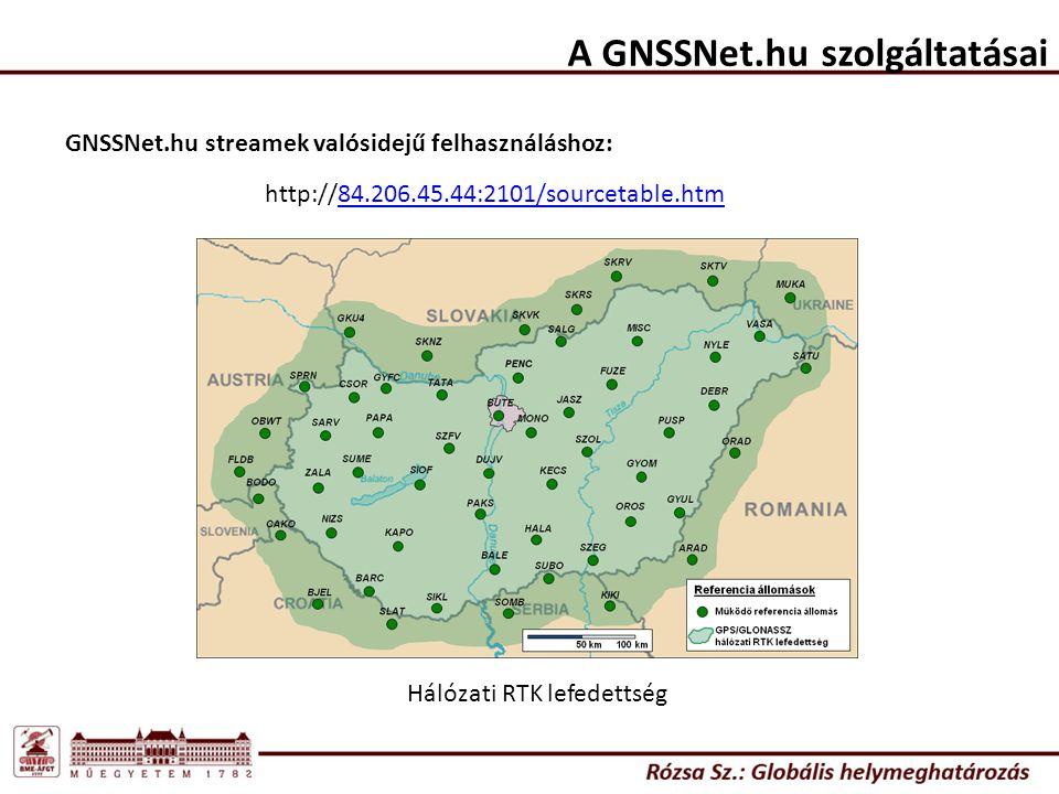A GNSSNet.hu szolgáltatásai http://84.206.45.44:2101/sourcetable.htm GNSSNet.hu streamek valósidejű felhasználáshoz: Hálózati RTK lefedettség