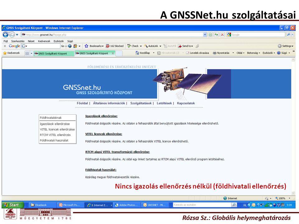 A GNSSNet.hu szolgáltatásai Nincs igazolás ellenőrzés nélkül (földhivatali ellenőrzés)