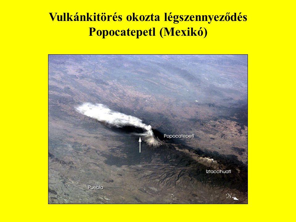 Vulkánkitörés okozta légszennyeződés Popocatepetl (Mexikó)