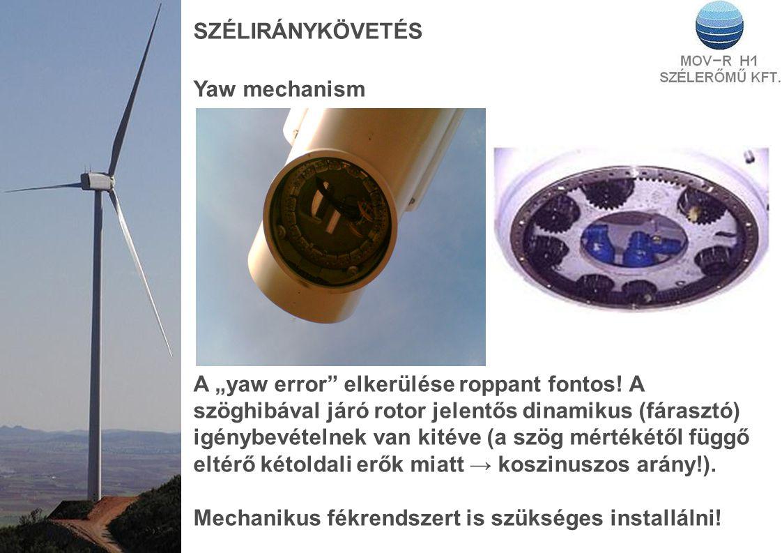 """SZÉLIRÁNYKÖVETÉS Yaw mechanism A """"yaw error"""" elkerülése roppant fontos! A szöghibával járó rotor jelentős dinamikus (fárasztó) igénybevételnek van kit"""