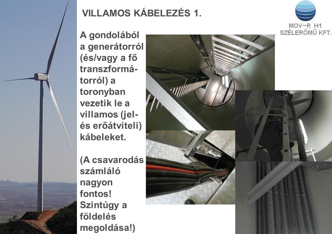 VILLAMOS KÁBELEZÉS 1. A gondolából a generátorról (és/vagy a fő transzformá- torról) a toronyban vezetik le a villamos (jel- és erőátviteli) kábeleket