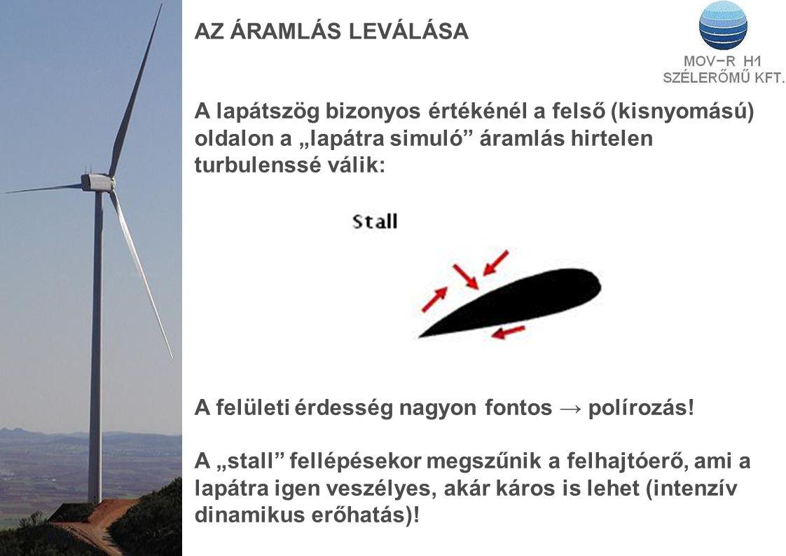 ROTOR AERODINAMIKA A lapát hossza menti különböző kerületi sebességek miatt a rotor forgásából és az azt támadó szél sebességéből összeadódó eredő sebességek is változnak.
