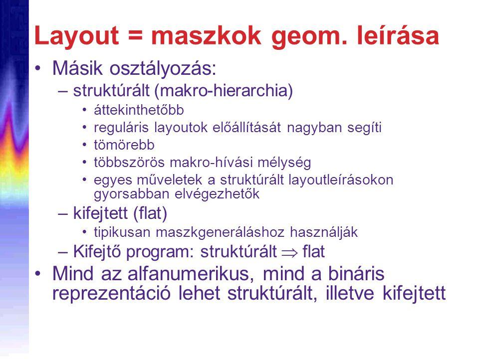 Layout = maszkok geom. leírása Másik osztályozás: –struktúrált (makro-hierarchia) áttekinthetőbb reguláris layoutok előállítását nagyban segíti tömöre