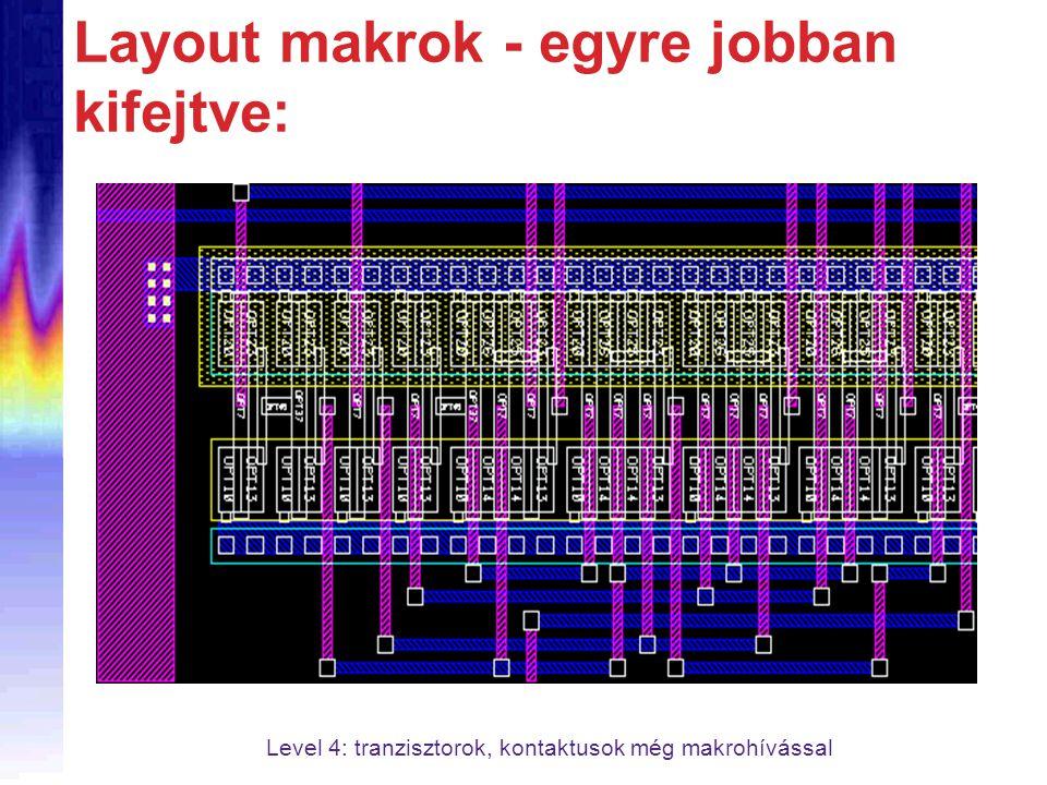Layout makrok - egyre jobban kifejtve: Level 4: tranzisztorok, kontaktusok még makrohívással