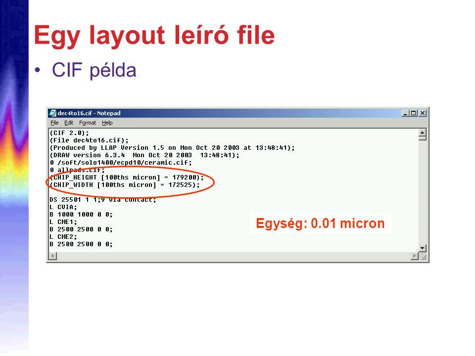 Egy layout leíró file CIF példa Egység: 0.01 micron