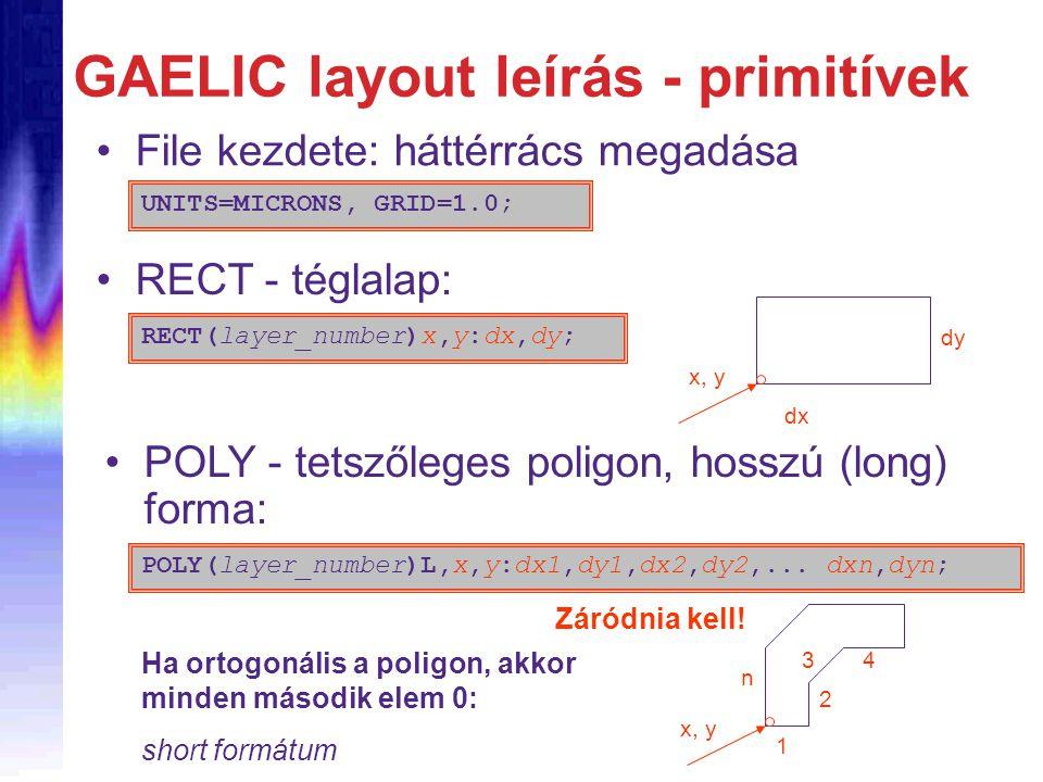 GAELIC layout leírás - primitívek File kezdete: háttérrács megadása UNITS=MICRONS, GRID=1.0; RECT(layer_number)x,y:dx,dy; RECT - téglalap: dx dy x, y