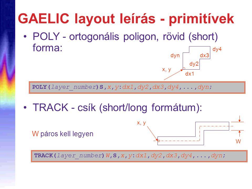 GAELIC layout leírás - primitívek POLY - ortogonális poligon, rövid (short) forma: POLY(layer_number)S,x,y:dx1,dy2,dx3,dy4,...,dyn; x, y dx1 dyn dy2 d