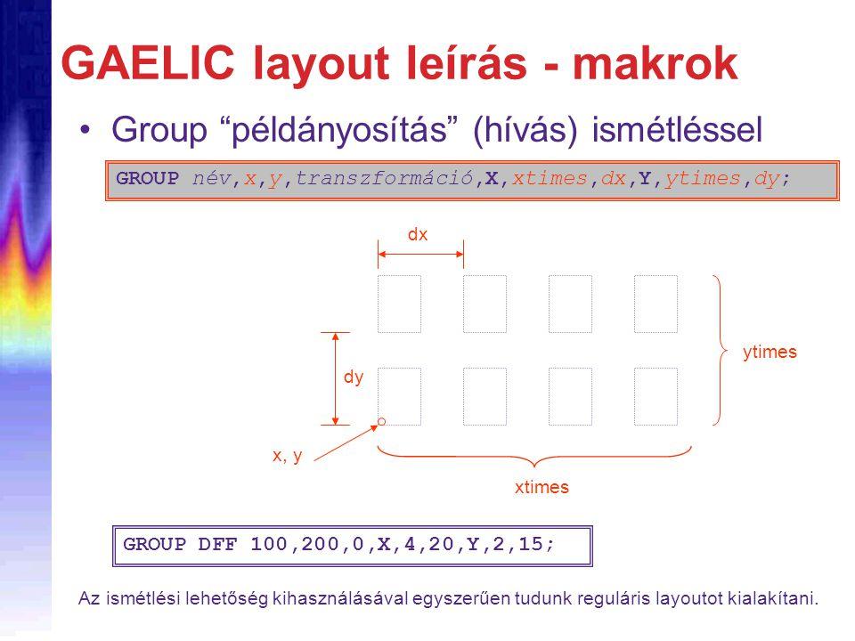 """GAELIC layout leírás - makrok Group """"példányosítás"""" (hívás) ismétléssel GROUP név,x,y,transzformáció,X,xtimes,dx,Y,ytimes,dy; x, y dx dy xtimes ytimes"""