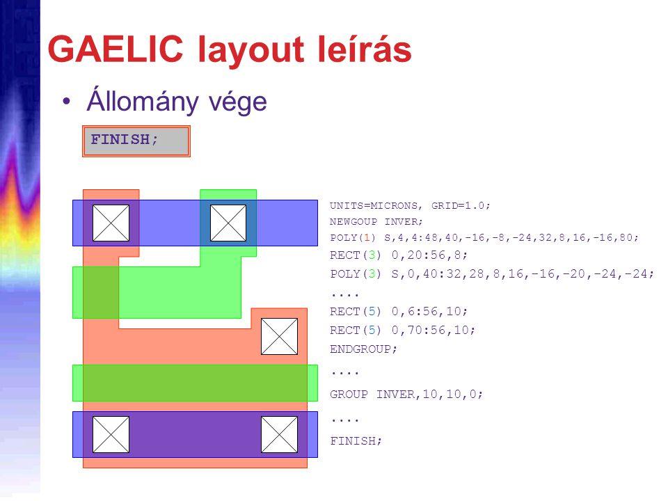 GAELIC layout leírás Állomány vége FINISH; UNITS=MICRONS, GRID=1.0; NEWGOUP INVER; POLY(1) S,4,4:48,40,-16,-8,-24,32,8,16,-16,80; RECT(3) 0,20:56,8; P