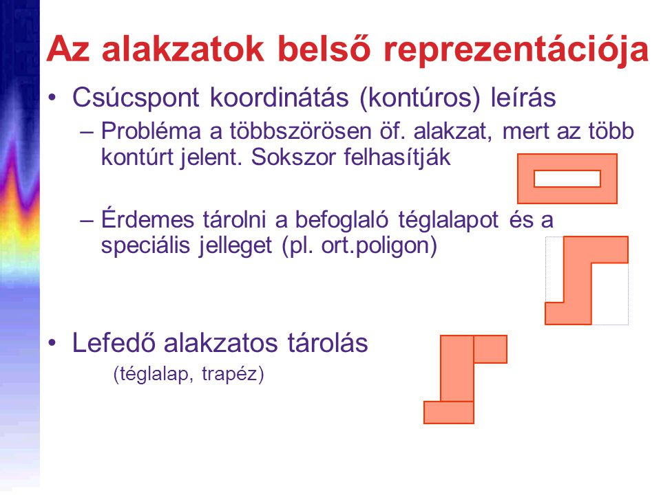 Az alakzatok belső reprezentációja Csúcspont koordinátás (kontúros) leírás –Probléma a többszörösen öf. alakzat, mert az több kontúrt jelent. Sokszor