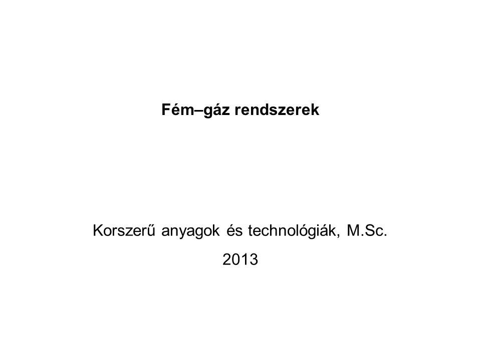 Fém–gáz rendszerek Korszerű anyagok és technológiák, M.Sc. 2013