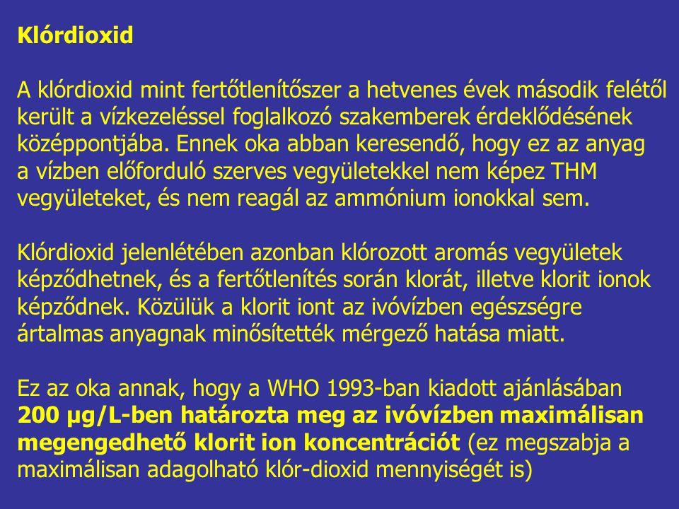 Klórdioxid A klórdioxid mint fertőtlenítőszer a hetvenes évek második felétől került a vízkezeléssel foglalkozó szakemberek érdeklődésének középpontjá