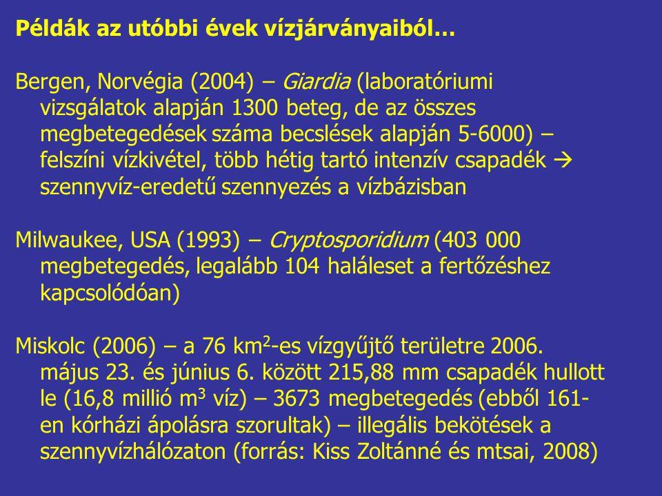 Példák az utóbbi évek vízjárványaiból… Bergen, Norvégia (2004) – Giardia (laboratóriumi vizsgálatok alapján 1300 beteg, de az összes megbetegedések sz
