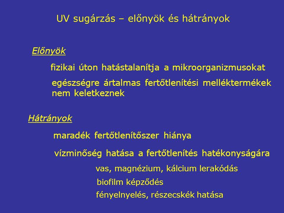 UV sugárzás – előnyök és hátrányok Előnyök fizikai úton hatástalanítja a mikroorganizmusokat egészségre ártalmas fertőtlenítési melléktermékek nem keletkeznek Hátrányok maradék fertőtlenítőszer hiánya vízminőség hatása a fertőtlenítés hatékonyságára vas, magnézium, kálcium lerakódás biofilm képződés fényelnyelés, részecskék hatása