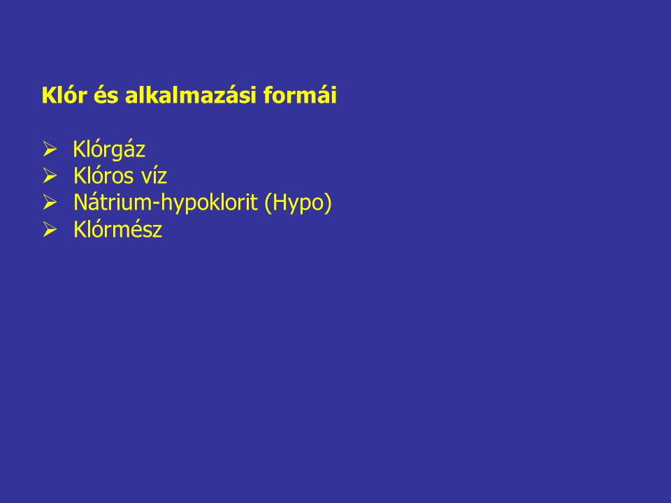 Klóros víz Klórgáz és víz reakciójaként keletkezik a következők szerint: Cl 2 + H 2 O  HOCl + HCl A hypoklórossav (HOCl) is képes a disszociációra, de annak mértéke a pH függvénye: HOCl  H + + OCl - Savas közegben a hypoklórossav, míg lúgos közegben a hypoklorit ion stabil.