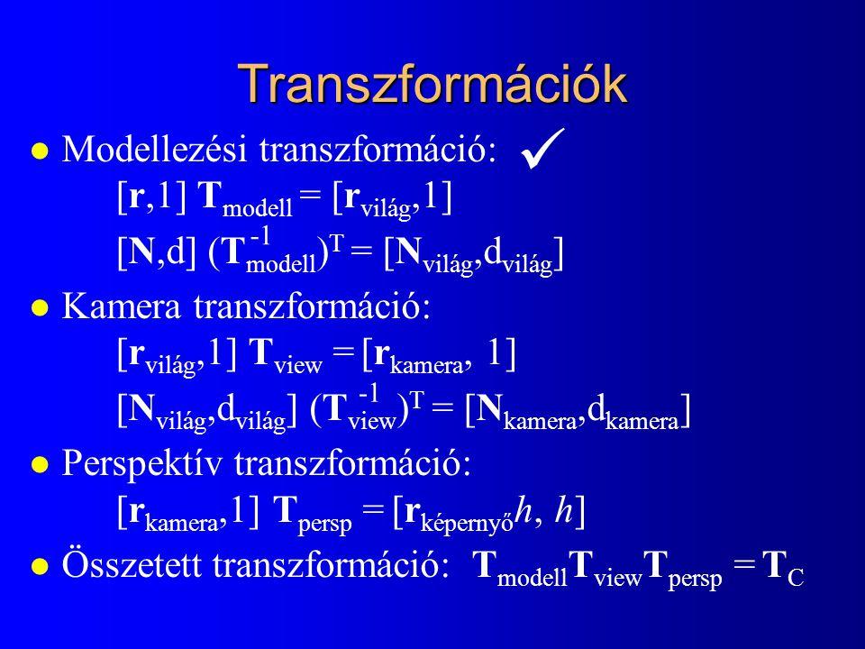 Transzformációk l Modellezési transzformáció: [r,1] T modell = [r világ,1] [N,d] (T modell ) T = [N világ,d világ ] l Kamera transzformáció: [r világ,1] T view = [r kamera, 1] [N világ,d világ ] (T view ) T = [N kamera,d kamera ] l Perspektív transzformáció: [r kamera,1] T persp = [r képernyő h, h] l Összetett transzformáció: T modell T view T persp = T C