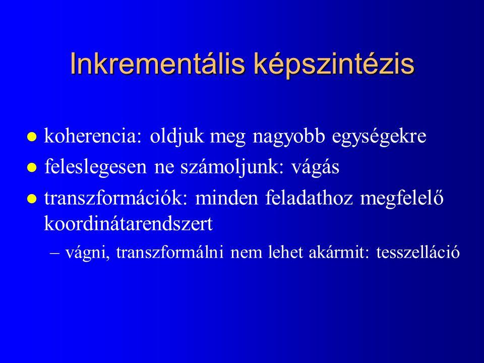 Inkrementális képszintézis l koherencia: oldjuk meg nagyobb egységekre l feleslegesen ne számoljunk: vágás l transzformációk: minden feladathoz megfelelő koordinátarendszert –vágni, transzformálni nem lehet akármit: tesszelláció