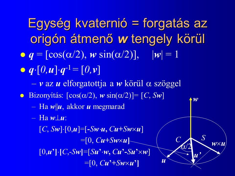 Egység kvaternió = forgatás az origón átmenő w tengely körül l q = [cos(  /2), w sin(  /2)], |w| = 1 l q  [0,u]  q -1 = [0,v] –v az u elforgatottja a w körül  szöggel l Bizonyítás: –Ha w||u, akkor u megmarad –Ha w  u: [C, Sw]  [0,u]=[-Sw  u, Cu+Sw  u] =[0, Cu+Sw  u] [0,u']  [C,-Sw]=[Su'  w, Cu'-Su'  w] =[0, Cu'+Sw  u'] w u wuwu C S  /2 u' [cos(  /2), w sin(  /2)]= [C, Sw]