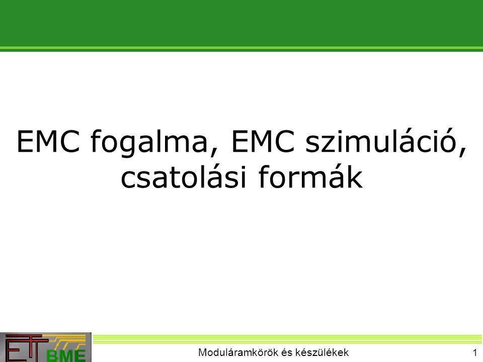 Moduláramkörök és készülékek 12 EMC szimuláció helye Prototípus készítés Újratervezés EMC szimuláció Layout tervezés Ellenőrzés EMC intézkedések