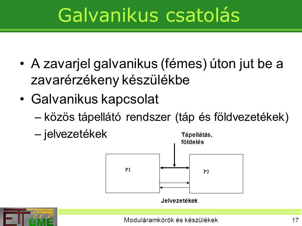 Moduláramkörök és készülékek 17 Galvanikus csatolás A zavarjel galvanikus (fémes) úton jut be a zavarérzékeny készülékbe Galvanikus kapcsolat –közös tápellátó rendszer (táp és földvezetékek) –jelvezetékek P1 P2 Tápellátás, földelés Jelvezetékek