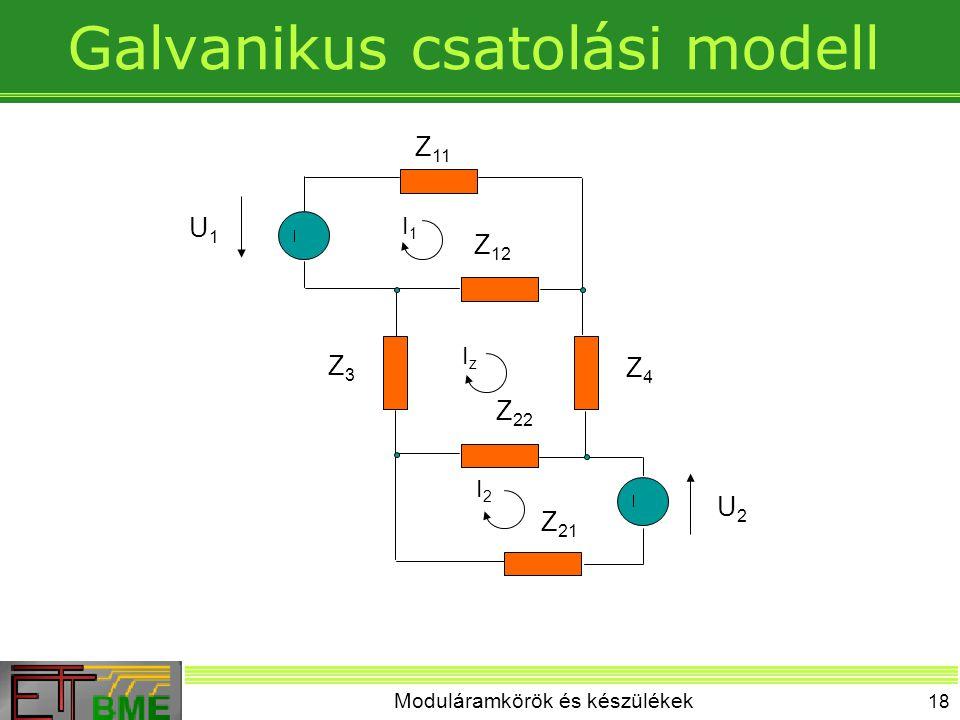 Moduláramkörök és készülékek 18 Galvanikus csatolási modell I1I1 IzIz I2I2 U1U1 U2U2 Z 11 Z 12 Z3Z3 Z4Z4 Z 22 Z 21
