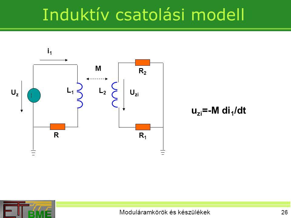 Moduláramkörök és készülékek 26 Induktív csatolási modell R R2R2 R1R1 L1L1 L2L2 M UzUz U zi i1i1 u zi =-M di 1 /dt