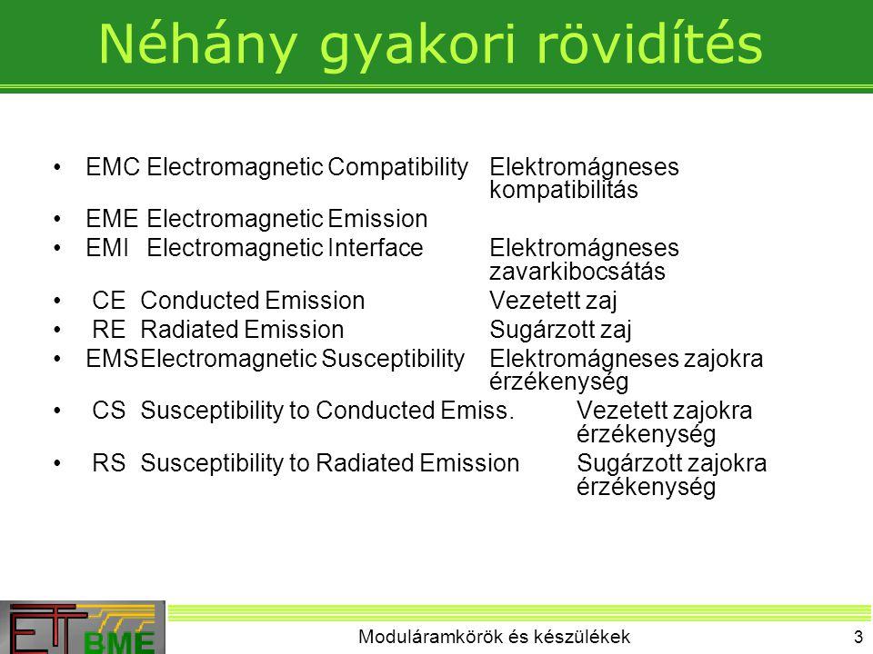 Moduláramkörök és készülékek 3 Néhány gyakori rövidítés EMC Electromagnetic CompatibilityElektromágneses kompatibilitás EME Electromagnetic Emission EMI Electromagnetic InterfaceElektromágneses zavarkibocsátás CEConducted EmissionVezetett zaj RERadiated EmissionSugárzott zaj EMSElectromagnetic SusceptibilityElektromágneses zajokra érzékenység CSSusceptibility to Conducted Emiss.Vezetett zajokra érzékenység RSSusceptibility to Radiated EmissionSugárzott zajokra érzékenység