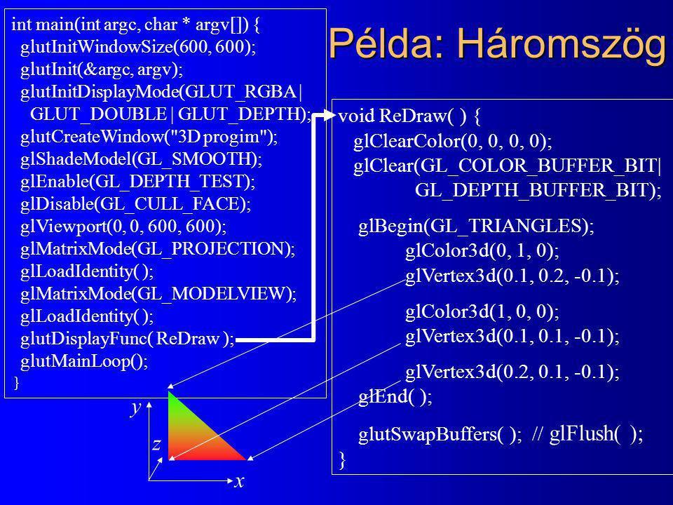 Példa: Háromszög int main(int argc, char * argv[]) { glutInitWindowSize(600, 600); glutInit(&argc, argv); glutInitDisplayMode(GLUT_RGBA | GLUT_DOUBLE | GLUT_DEPTH); glutCreateWindow( 3D progim ); glShadeModel(GL_SMOOTH); glEnable(GL_DEPTH_TEST); glDisable(GL_CULL_FACE); glViewport(0, 0, 600, 600); glMatrixMode(GL_PROJECTION); glLoadIdentity( ); glMatrixMode(GL_MODELVIEW); glLoadIdentity( ); glutDisplayFunc( ReDraw ); glutMainLoop(); } void ReDraw( ) { glClearColor(0, 0, 0, 0); glClear(GL_COLOR_BUFFER_BIT| GL_DEPTH_BUFFER_BIT); glBegin(GL_TRIANGLES); glColor3d(0, 1, 0); glVertex3d(0.1, 0.2, -0.1); glColor3d(1, 0, 0); glVertex3d(0.1, 0.1, -0.1); glVertex3d(0.2, 0.1, -0.1); glEnd( ); glutSwapBuffers( ); // glFlush( ); } x y z