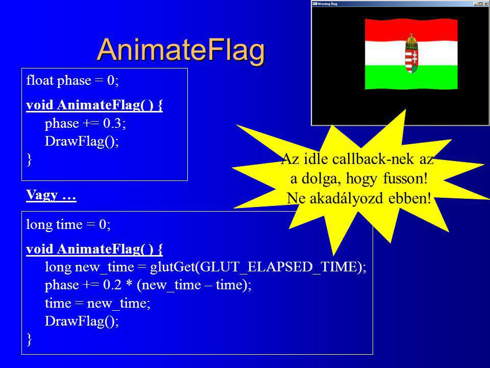 AnimateFlag float phase = 0; void AnimateFlag( ) { phase += 0.3; DrawFlag(); } Vagy … long time = 0; void AnimateFlag( ) { long new_time = glutGet(GLU