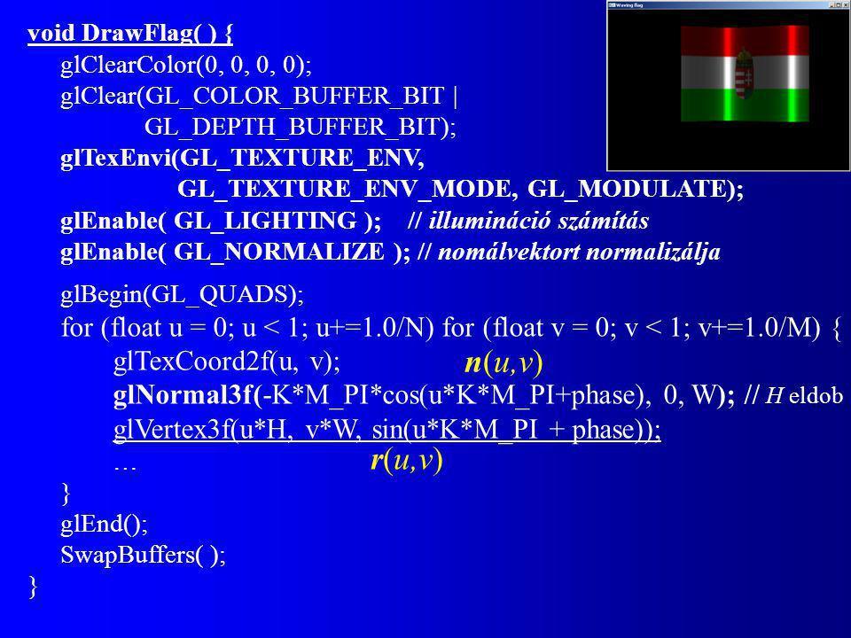void DrawFlag( ) { glClearColor(0, 0, 0, 0); glClear(GL_COLOR_BUFFER_BIT | GL_DEPTH_BUFFER_BIT); glTexEnvi(GL_TEXTURE_ENV, GL_TEXTURE_ENV_MODE, GL_MODULATE); glEnable( GL_LIGHTING ); // illumináció számítás glEnable( GL_NORMALIZE ); // nomálvektort normalizálja glBegin(GL_QUADS); for (float u = 0; u < 1; u+=1.0/N) for (float v = 0; v < 1; v+=1.0/M) { glTexCoord2f(u, v); glNormal3f(-K*M_PI*cos(u*K*M_PI+phase), 0, W); // H eldob glVertex3f(u*H, v*W, sin(u*K*M_PI + phase)); … } glEnd(); SwapBuffers( ); } n(u,v) r(u,v)