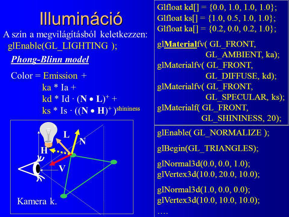 Illumináció Phong-Blinn model Color = Emission + ka * Ia + kd * Id · (N  L) + + ks * Is · ((N  H) + ) shininess Glfloat kd[] = {0.0, 1.0, 1.0, 1.0};