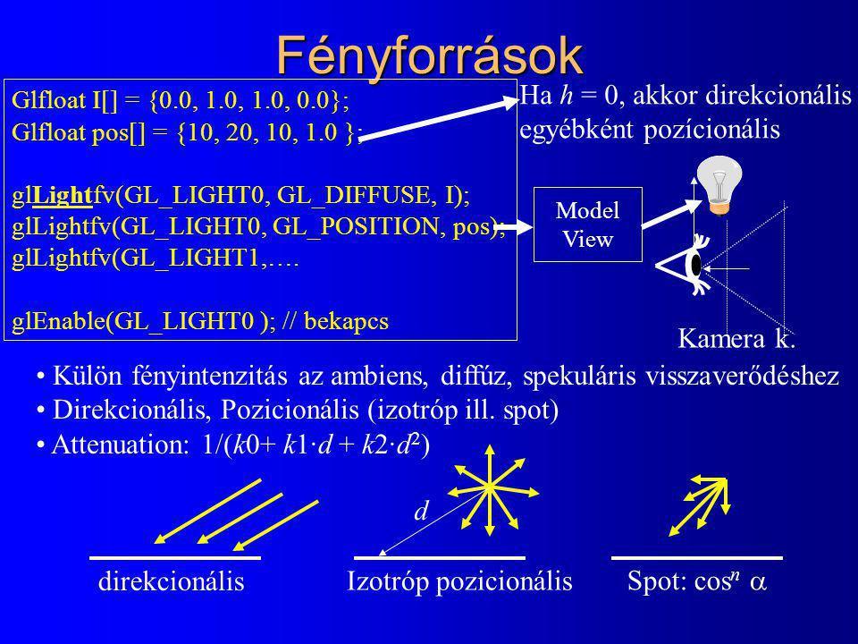 Fényforrások Glfloat I[] = {0.0, 1.0, 1.0, 0.0}; Glfloat pos[] = {10, 20, 10, 1.0 }; glLightfv(GL_LIGHT0, GL_DIFFUSE, I); glLightfv(GL_LIGHT0, GL_POSITION, pos); glLightfv(GL_LIGHT1,….