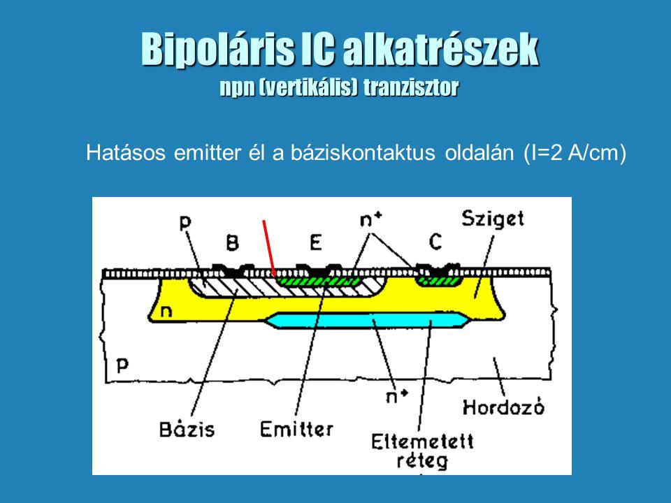 Bipoláris IC alkatrészek npn (vertikális) tranzisztor Hatásos emitter él a báziskontaktus oldalán (I=2 A/cm)
