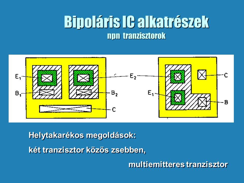 Bipoláris IC alkatrészek npn tranzisztorok Helytakarékos megoldások: két tranzisztor közös zsebben, multiemitteres tranzisztor Helytakarékos megoldások: két tranzisztor közös zsebben, multiemitteres tranzisztor