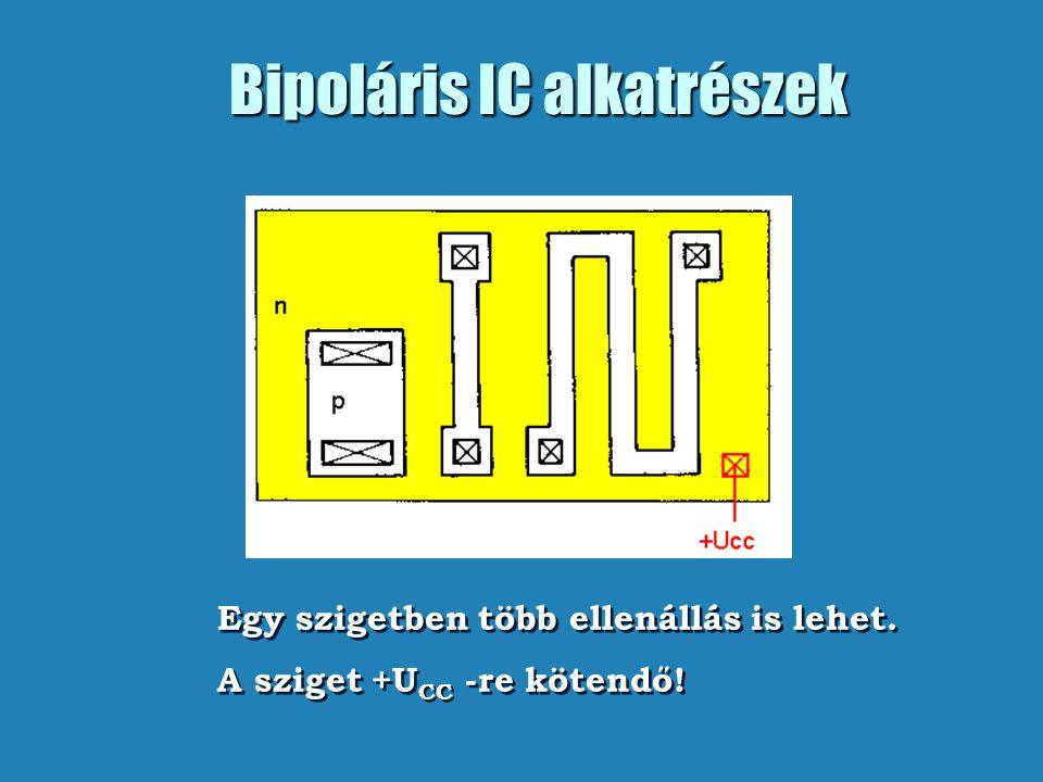 Bipoláris IC alkatrészek Egy szigetben több ellenállás is lehet. A sziget +U CC -re kötendő! Egy szigetben több ellenállás is lehet. A sziget +U CC -r