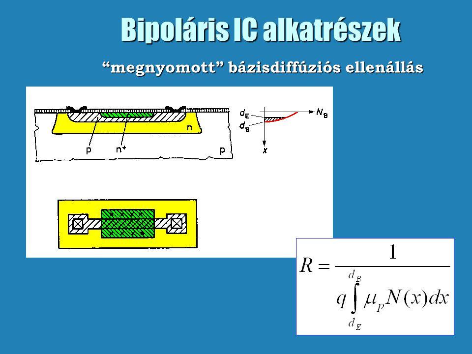 """Bipoláris IC alkatrészek """"megnyomott"""" bázisdiffúziós ellenállás"""