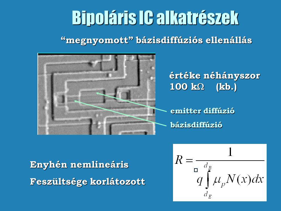 """Bipoláris IC alkatrészek értéke néhányszor 100 k  (kb.) emitter diffúzió bázisdiffúzió """"megnyomott"""" bázisdiffúziós ellenállás Enyhén nemlineáris"""