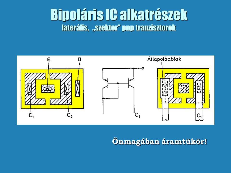 """Bipoláris IC alkatrészek laterális, """"szektor"""" pnp tranzisztorok Önmagában áramtükör!"""