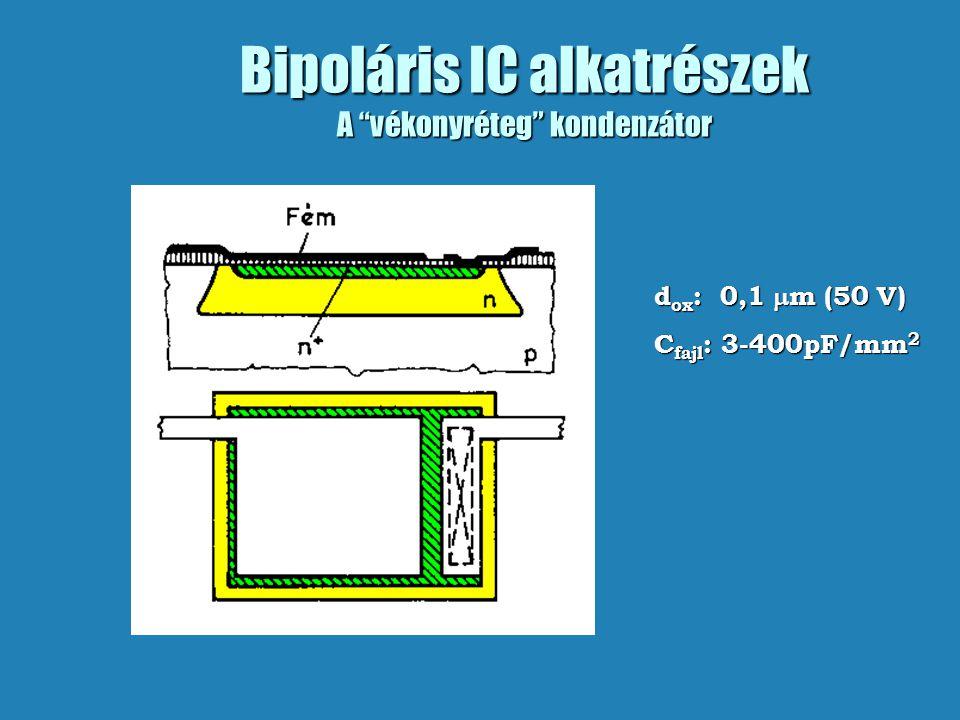 """Bipoláris IC alkatrészek A """"vékonyréteg"""" kondenzátor d ox : 0,1  m (50 V) C fajl : 3-400pF/mm 2"""
