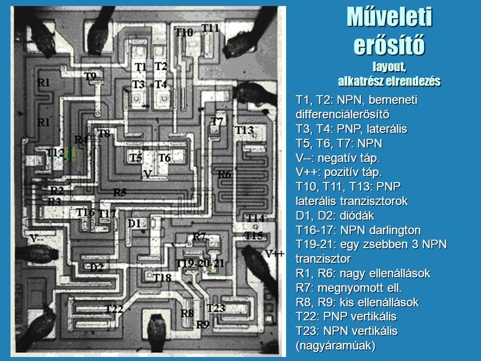 Műveleti erősítő layout, alkatrész elrendezés T1, T2: NPN, bemeneti differenciálerősítő T3, T4: PNP, laterális T5, T6, T7: NPN V--: negatív táp. V++: