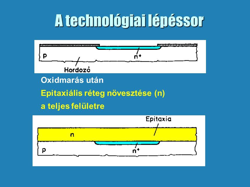 A technológiai lépéssor Oxidmarás után Epitaxiális réteg növesztése (n) a teljes felületre