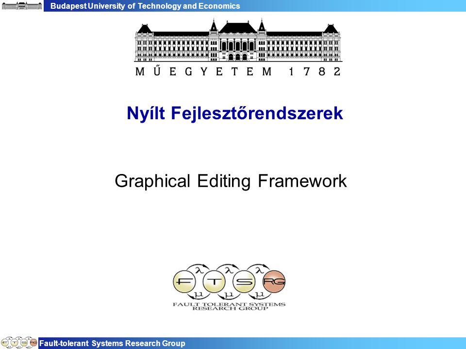 """Budapest University of Technology and Economics Fault-tolerant Systems Research Group 22 GEF szerkesztő lépései  Kezdeti nézet felépítése −Modell bejárása, nézet elkészítése −Szerkesztési """"szabályok meghatározása  Felhasználói akciók −Üzenetek értelmezése a szerkesztési """"szabályok alapján −Modell módosítása −Nézetek frissítése"""