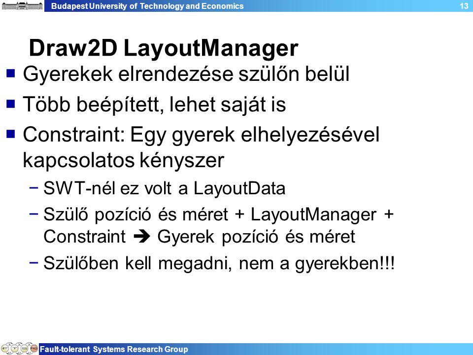 Budapest University of Technology and Economics Fault-tolerant Systems Research Group 13 Draw2D LayoutManager  Gyerekek elrendezése szülőn belül  Több beépített, lehet saját is  Constraint: Egy gyerek elhelyezésével kapcsolatos kényszer −SWT-nél ez volt a LayoutData −Szülő pozíció és méret + LayoutManager + Constraint  Gyerek pozíció és méret −Szülőben kell megadni, nem a gyerekben!!!