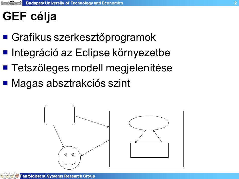 Budapest University of Technology and Economics Fault-tolerant Systems Research Group 2 GEF célja  Grafikus szerkesztőprogramok  Integráció az Eclipse környezetbe  Tetszőleges modell megjelenítése  Magas absztrakciós szint