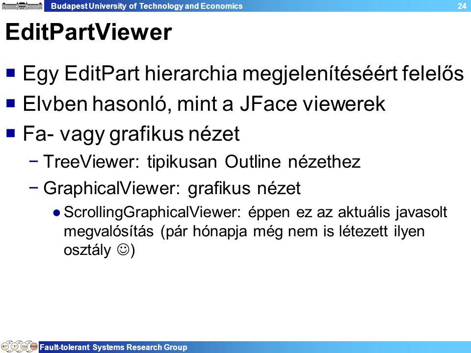 Budapest University of Technology and Economics Fault-tolerant Systems Research Group 24 EditPartViewer  Egy EditPart hierarchia megjelenítéséért felelős  Elvben hasonló, mint a JFace viewerek  Fa- vagy grafikus nézet −TreeViewer: tipikusan Outline nézethez −GraphicalViewer: grafikus nézet ●ScrollingGraphicalViewer: éppen ez az aktuális javasolt megvalósítás (pár hónapja még nem is létezett ilyen osztály )