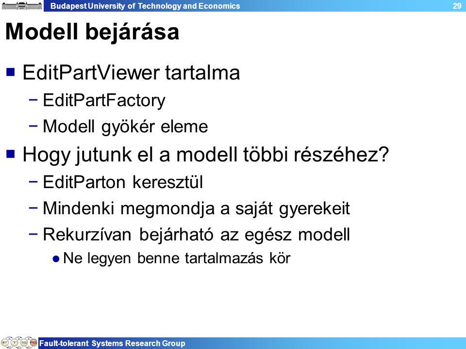 Budapest University of Technology and Economics Fault-tolerant Systems Research Group 29 Modell bejárása  EditPartViewer tartalma −EditPartFactory −Modell gyökér eleme  Hogy jutunk el a modell többi részéhez.