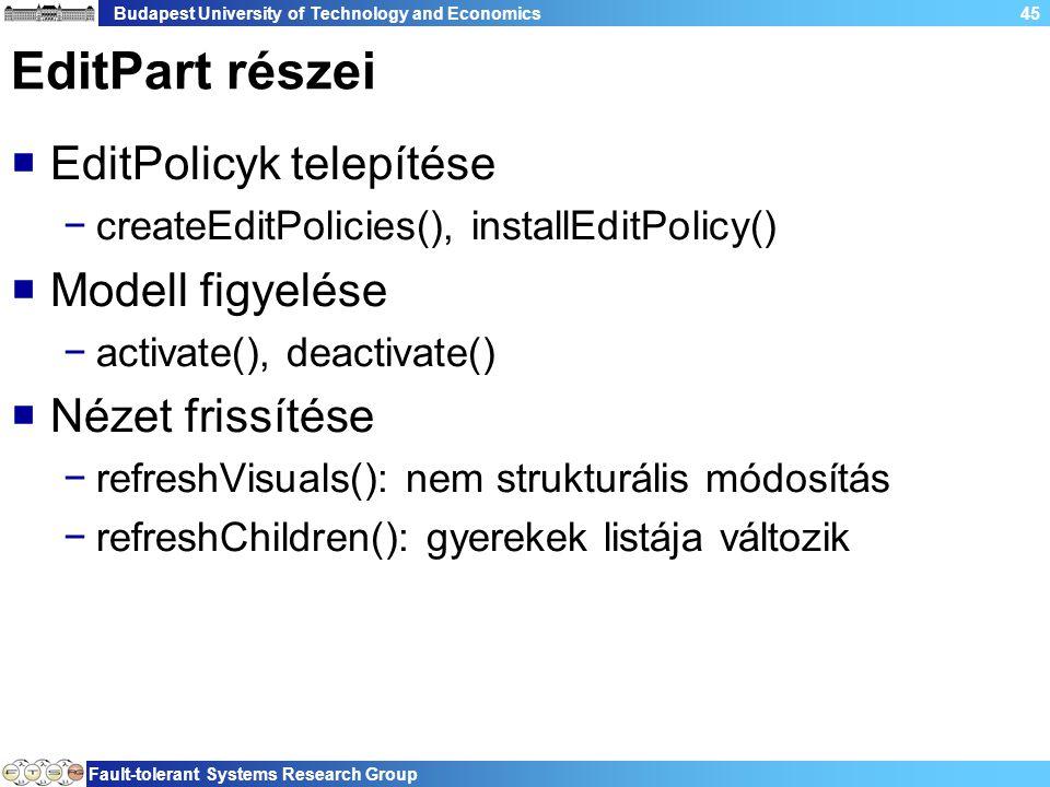 Budapest University of Technology and Economics Fault-tolerant Systems Research Group 45 EditPart részei  EditPolicyk telepítése −createEditPolicies(), installEditPolicy()  Modell figyelése −activate(), deactivate()  Nézet frissítése −refreshVisuals(): nem strukturális módosítás −refreshChildren(): gyerekek listája változik
