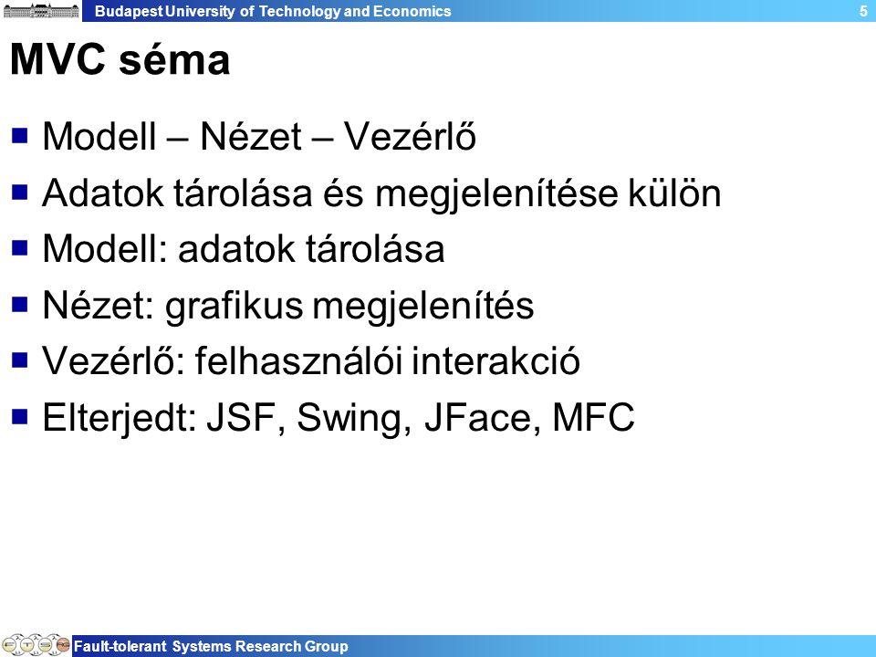 Budapest University of Technology and Economics Fault-tolerant Systems Research Group 5 MVC séma  Modell – Nézet – Vezérlő  Adatok tárolása és megjelenítése külön  Modell: adatok tárolása  Nézet: grafikus megjelenítés  Vezérlő: felhasználói interakció  Elterjedt: JSF, Swing, JFace, MFC